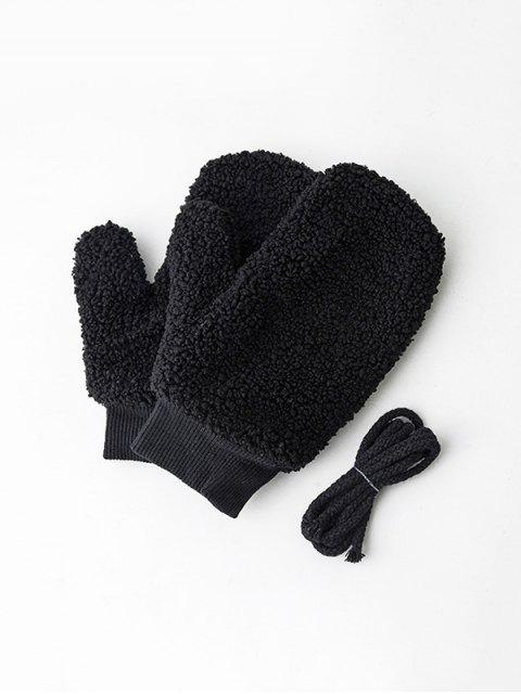 Los mitones de lana invierno sólidas - Negro  Mobile