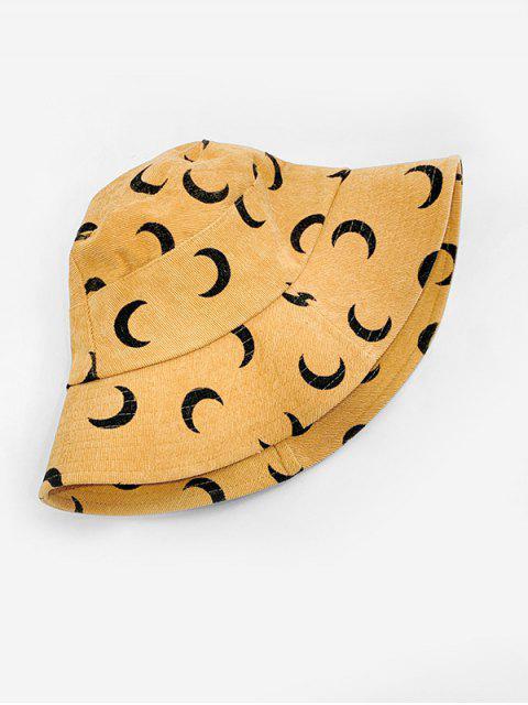 women's Corduroy Moon Print Bucket Hat - YELLOW  Mobile
