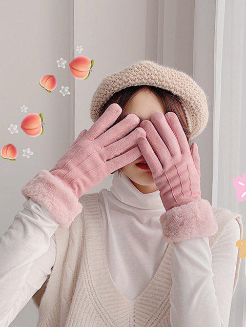 Dedo guantes de color mullido sólida llena - Rosa Claro  Mobile