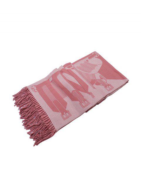 lady Patterned Fringe Faux Cashmere Long Scarf - WATERMELON PINK REGULAR Mobile