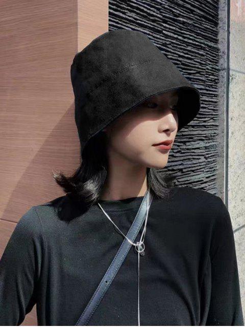 online Solid Cotton Outdoor Bucket Hat - BLACK  Mobile