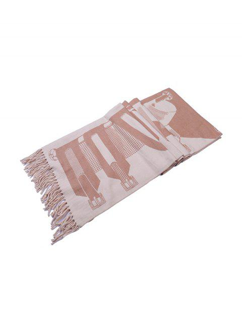 hot Patterned Fringe Faux Cashmere Long Scarf - LIGHT KHAKI REGULAR Mobile