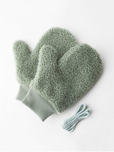 outfits Winter Fleece Solid Mitts - LIGHT GREEN  Mobile