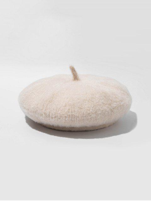 chic Knitted Solid Painter Beret Hat - WARM WHITE  Mobile