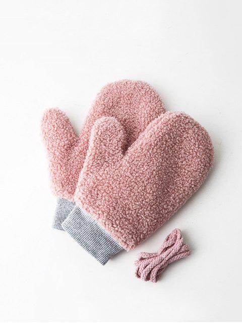 affordable Winter Fleece Solid Mitts - ROSE  Mobile