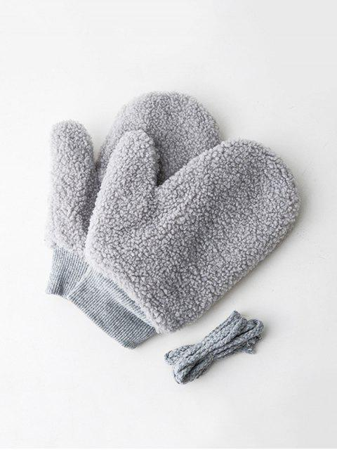 buy Winter Fleece Solid Mitts - DARK GRAY  Mobile