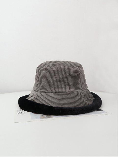 ladies Plush Edge Corduroy Bucket Hat - GRAY  Mobile
