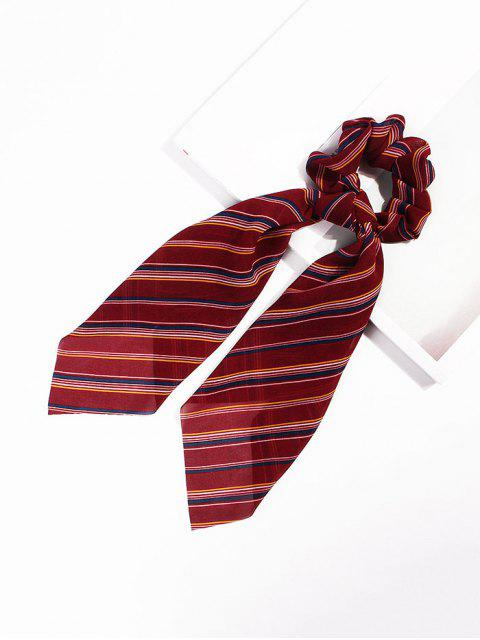 outfit Striped Pattern Bowknot Ribbon Intestine Ring Hair Band - RED  Mobile