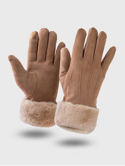 Одноцветные Пушистые Перчатки С полными пальцами - Коричневый  Mobile