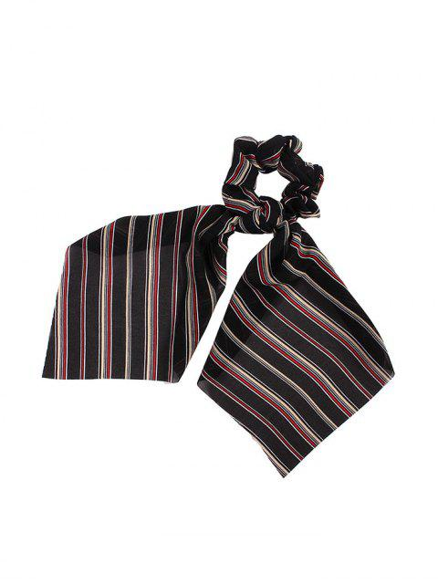 outfit Striped Pattern Bowknot Ribbon Intestine Ring Hair Band - BLACK  Mobile
