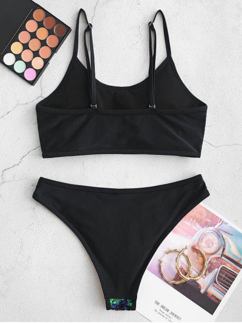 ZAFUL del brillo de las lentejuelas de baño bikini - Mar Verde Mediana M Mobile