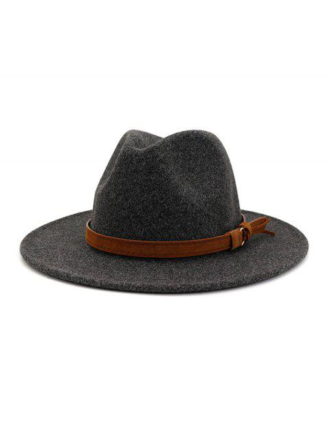 online Strap Decorated Fuzzy Jazz Hat - CARBON GRAY  Mobile