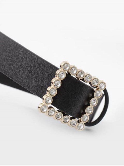 Горный хрусталь Квадратная пряжка Для платья Пояс - Чёрный  Mobile