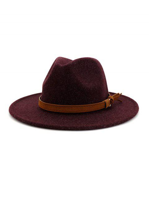 fancy Strap Decorated Fuzzy Jazz Hat - EGGPLANT  Mobile