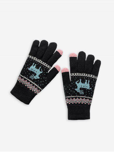 hot Christmas Wapiti Pattern Gloves - BLACK  Mobile