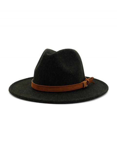outfit Strap Decorated Fuzzy Jazz Hat - BLACK  Mobile