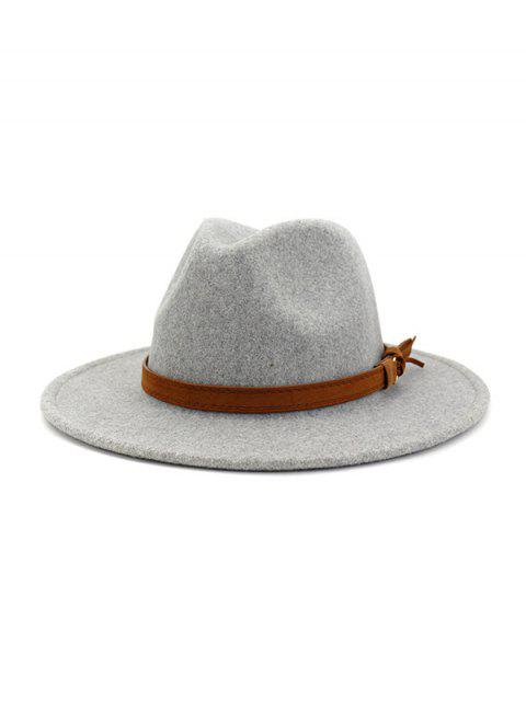 shop Strap Decorated Fuzzy Jazz Hat - LIGHT GRAY  Mobile