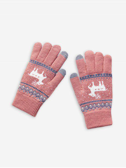 trendy Christmas Wapiti Pattern Gloves - ROSE  Mobile