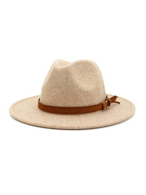 fashion Strap Decorated Fuzzy Jazz Hat - BEIGE  Mobile
