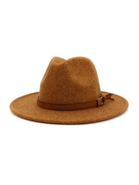 chic Strap Decorated Fuzzy Jazz Hat - TIGER ORANGE  Mobile