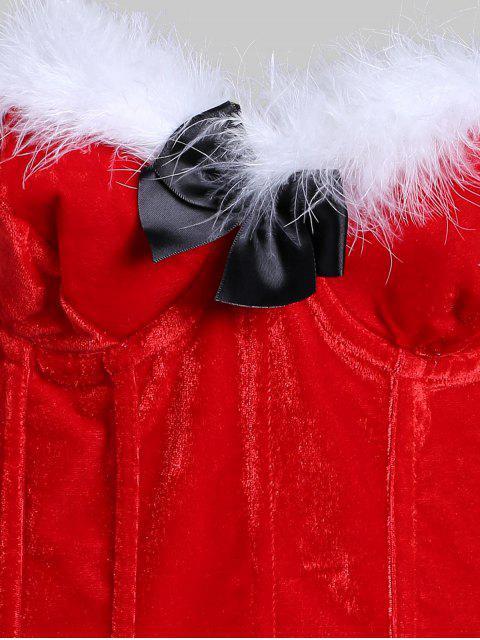 Ajuste de la piel del Bowknot atan para arriba el corsé liga Conjunto - Rojo Lava M Mobile