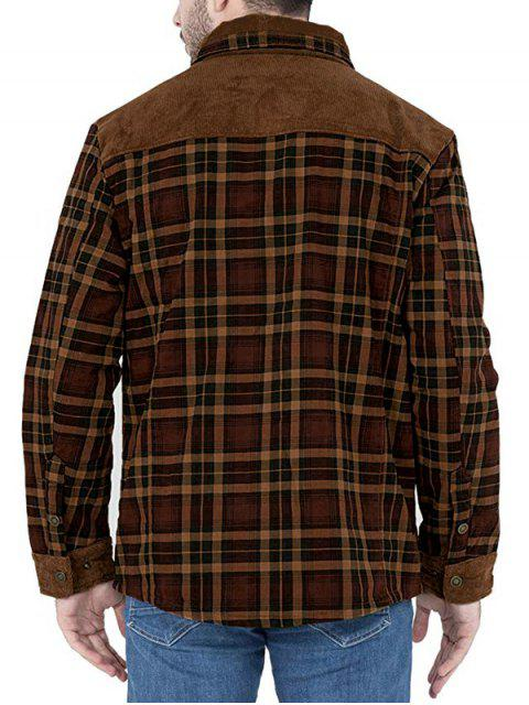 outfits Vintage Checked Print Fleece Jacket - COFFEE 2XL Mobile