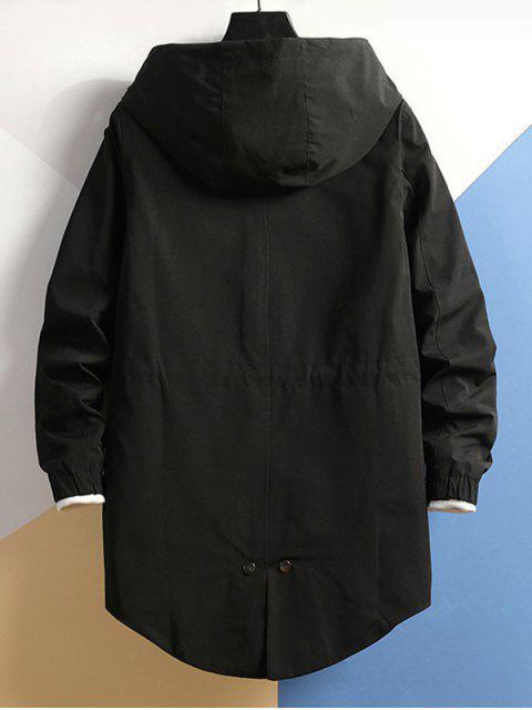 Manteau à Capuche Zippé Taille à Cordon - Noir 4XL Mobile
