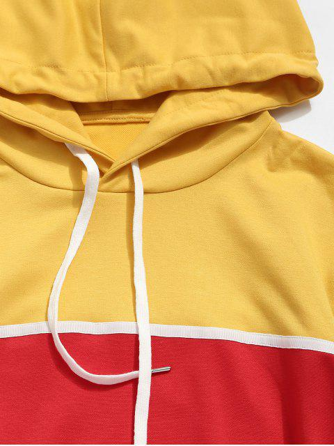 El bloqueo de color bolsillo canguro con capucha informal - Multicolor XL Mobile