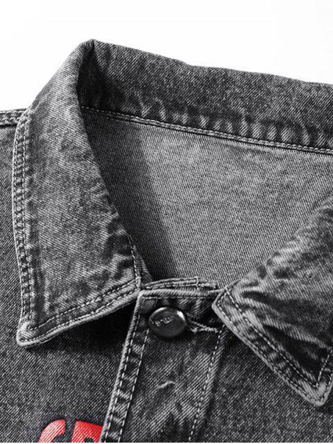 Impresión de la letra de Scratch Flap Jean bolsillo de la chaqueta - Grafito Negro 3XL Mobile