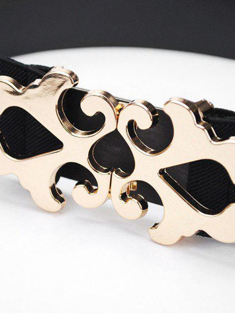latest Metal Buckle Wide Dress Belt - BLACK  Mobile