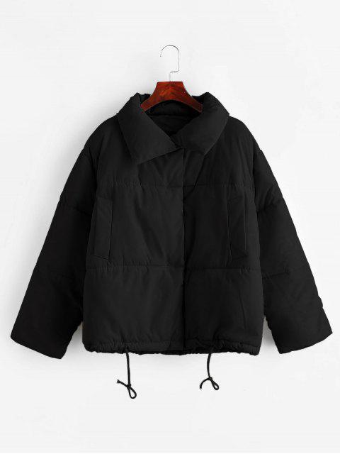 shop Snap Button Drawstring Pocket Padded Coat - BLACK M Mobile