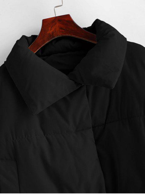 Manteau Rembourré à Bouton-Pression à Cordon avec Poche - Noir S Mobile