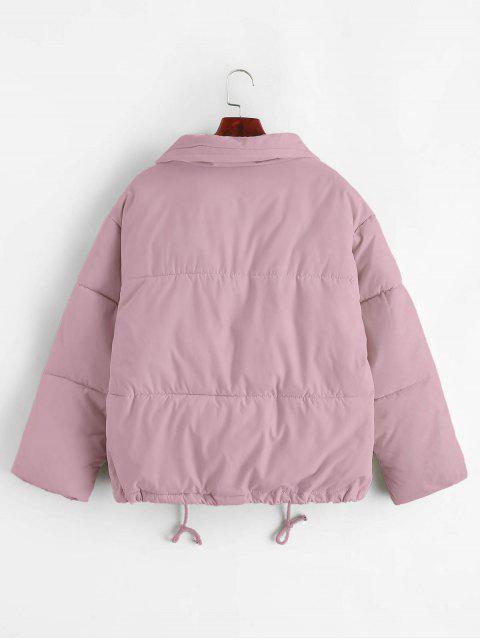 El botón rápido del lazo de bolsillo de la chaqueta acolchada - Color de malva L Mobile