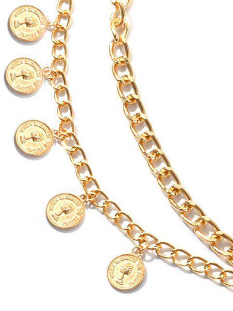 Монеты С бахромой Металл Цепь Многослойный Пояс - Ярко-желтый  Mobile