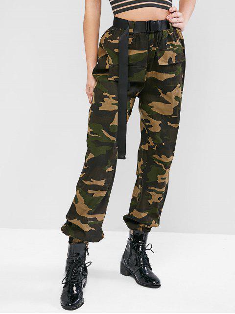 ZAFUL Jogger Pantalones de Camuflaje de Hebilla - Ejercito Verde M Mobile