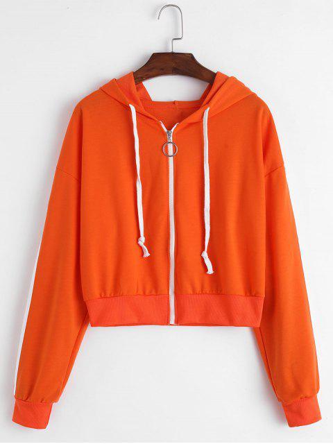ladies Side Striped Zip Up Hooded Jacket - ORANGE M Mobile