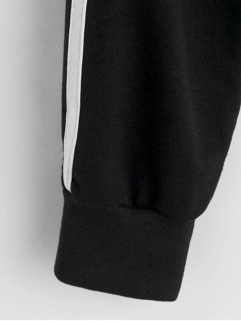 Hasta lado de rayas con cremallera chaqueta con capucha - Negro L Mobile