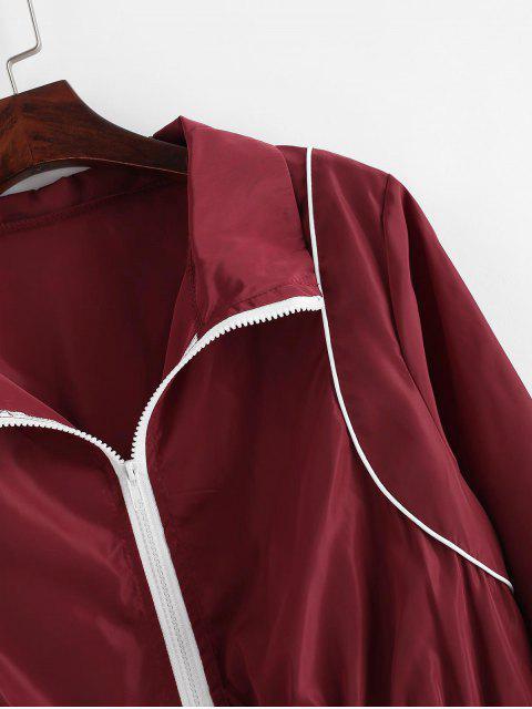 Jogger Pantalones con Cremallera y Contraste - Vino Tinto L Mobile
