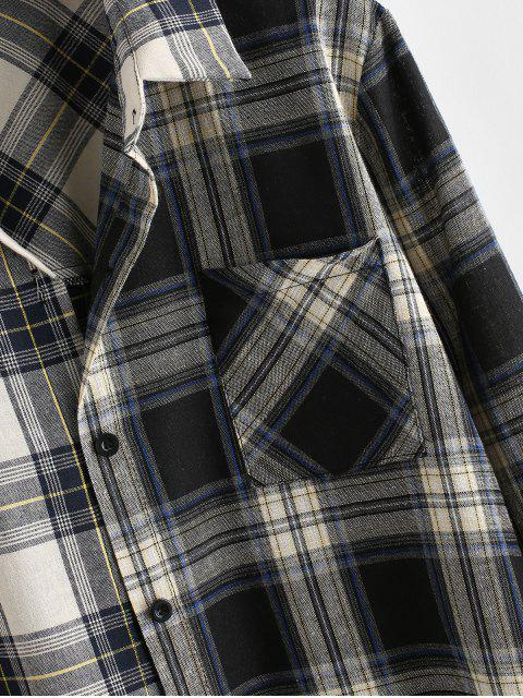 affordable ZAFUL Button Down Contrast Plaid Front Pocket Shirt - MULTI L Mobile