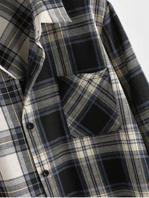 Botón ZAFUL abajo Contraste tela escocesa Frente bolsillo de la camisa - Multicolor XL Mobile
