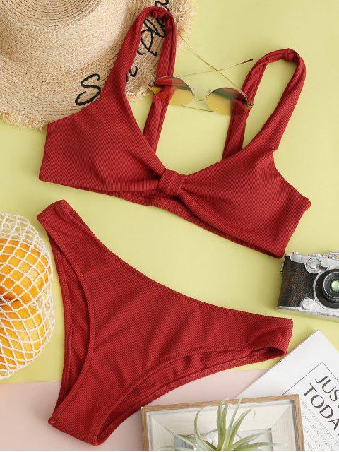 ZAFUL anudada acanalado Hundiendo baño bikini - Rojo Cereza L Mobile