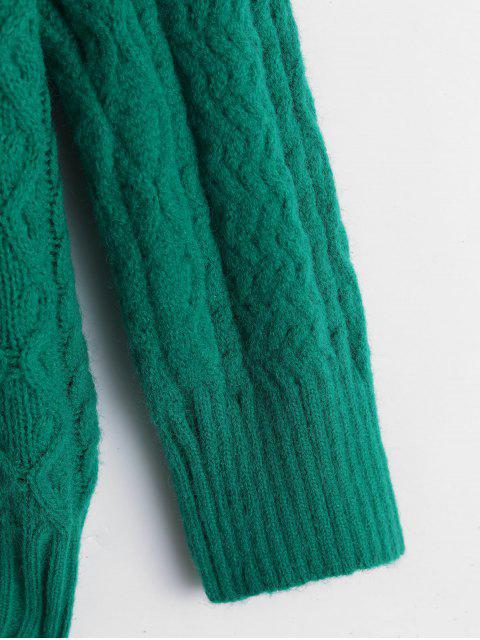 online V-notch Cable Knit Sweater - GREEN ONE SIZE Mobile