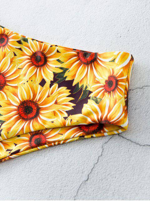 ZAFUL Bikinihose mit Sonnenblumenmuster und Hoher Taille - Multi-A M Mobile