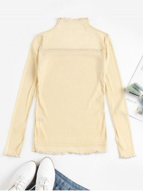 affordable Metallic Thread Mesh Lettuce Sheer Tee - CHAMPAGNE GOLD XL Mobile