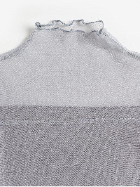 T-shirt Métallique en Maille Transparente à Ourlet en Laitue - Argent XL Mobile