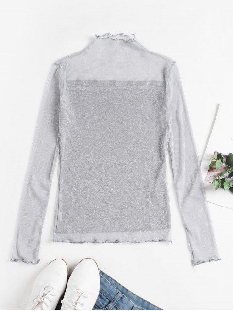 women's Metallic Thread Mesh Lettuce Sheer Tee - SILVER M Mobile