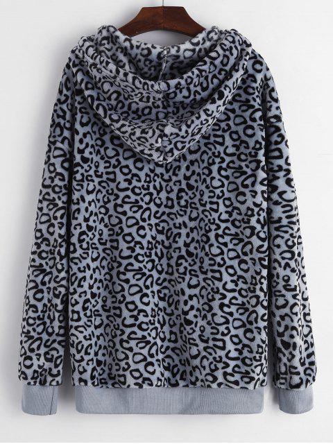 豹紋前口袋蓬鬆抽繩連帽外套 - 灰色 M Mobile
