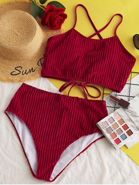 ZAFUL Gerippter Samt Tankini Badeanzug mit Schnürung und Hoher Taille - Lava Rot S Mobile