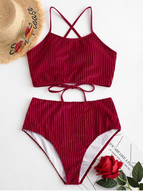ZAFUL acanalado terciopelo ata para arriba el traje de baño de Tankini de talle alto - Rojo Lava 2XL Mobile