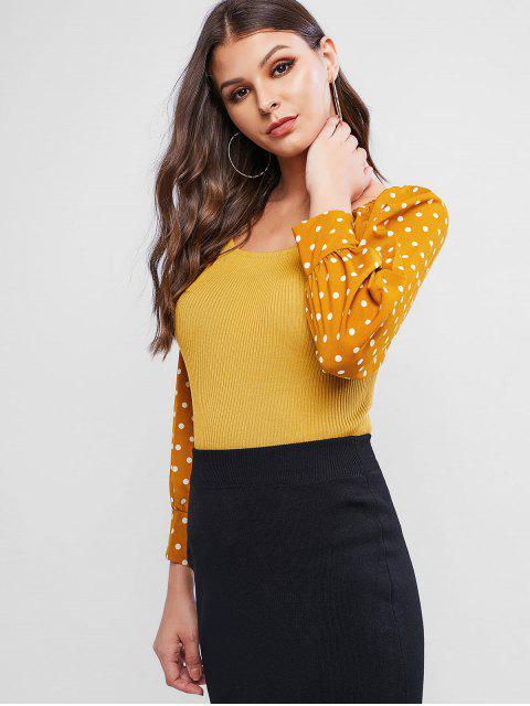 Tupfen Gemischte Media Raglan Ärmel Pullover - Gelb Eine Größe Mobile